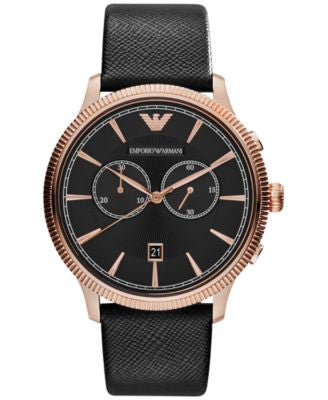 Emporio Armani Men's Chronograph Black Saffiano Leather Strap Watch 43mm AR1792
