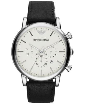 Emporio Armani Men's Chronograph Black Leather Strap Watch 46mm AR1807