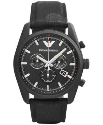 Emporio Armani Men's Chronograph Black Camouflage Canvas Strap Watch 43mm AR6051