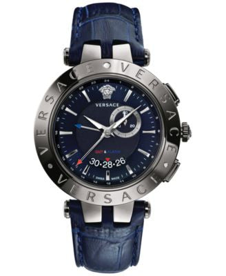 Versace Men's Swiss V-Race GMT Blue Alligator-Embossed Leather Strap Watch 46mm 29G98D282 S282