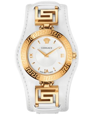 Versace Women's Swiss V-Signature White Leather Strap Watch 35mm VLA010014