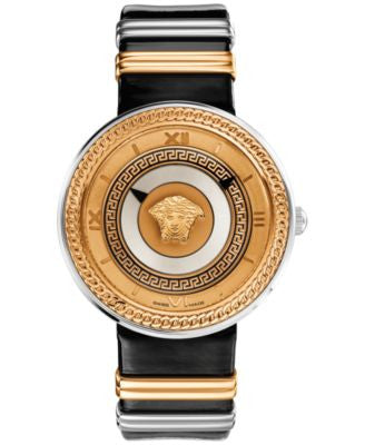 Versace Unisex Swiss V-Metal Two-Tone Accent Black Leather Strap Watch 40mm VLC020014