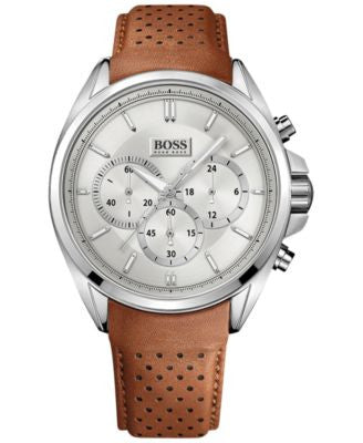 BOSS Hugo Boss Men's Chronograph Driver Brown Leather Strap Watch 44mm 1513118