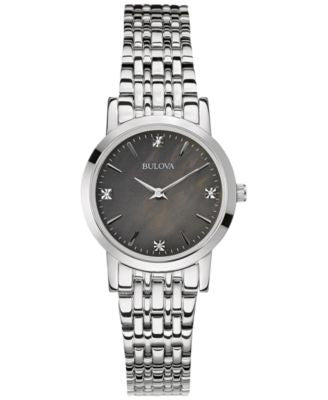 Bulova Women's Diamond Accent Stainless Steel Bracelet Watch 27mm 96P148