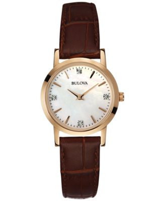 Bulova Women's Diamond Accent Brown Leather Strap Watch 27mm 97P105