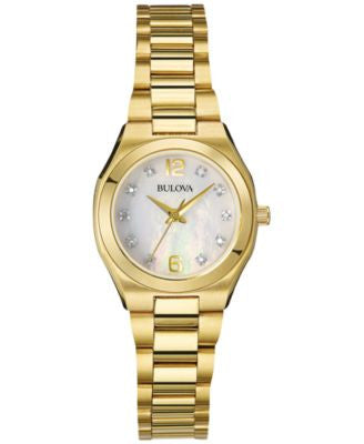 Bulova Women's Diamond Accent Gold-Tone Stainless Steel Bracelet Watch 26mm 97P109