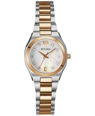 Bulova Women's Diamond Accent Two-Tone Stainless Steel Bracelet Watch 26mm 98P143