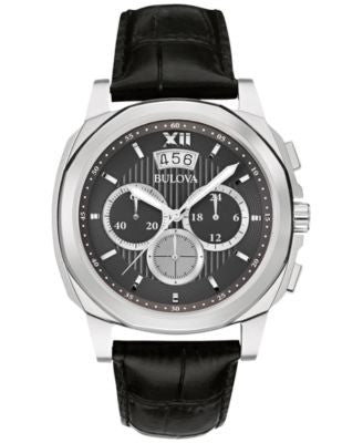 Bulova Men's Chronograph Black Leather Strap Watch 43mm 96B218