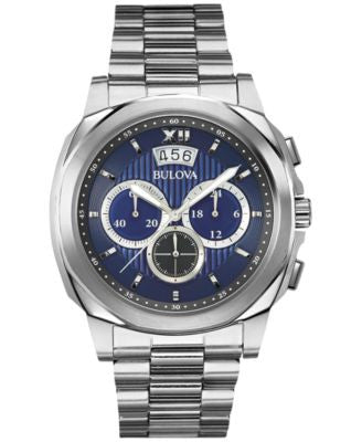 Bulova Men's Chronograph Stainless Steel Bracelet Watch 43mm 96B219