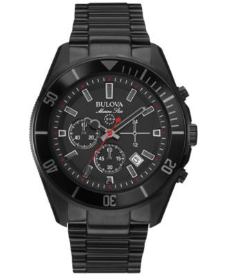 Bulova Men's Chronograph Marine Star Black Ion-Plated Stainless Steel Bracelet Watch 43mm 98B231
