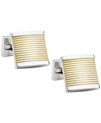 Ike Behar Two-Tone Horizontal-Striped Cufflinks