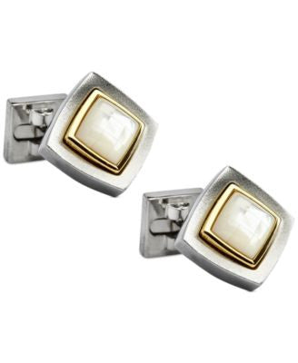 Ike Behar Diamond-Shaped Jeweled-Center Cufflinks