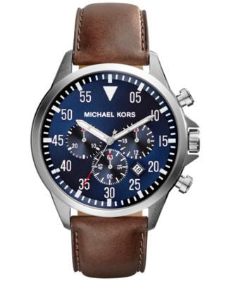 Michael Kors Men's Chronograph Gage Brown Leather Strap Watch 45mm MK8362