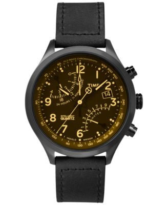 Timex Men's Intelligent Quartz Fly-Back Chronograph Black Leather Strap Watch 43mm T2P511AB