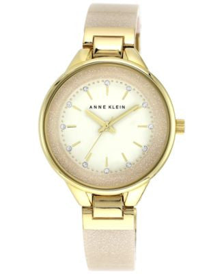 Anne Klein Women's Cream Glitter Bangle Bracelet Watch 36mm AK/1408CRCR