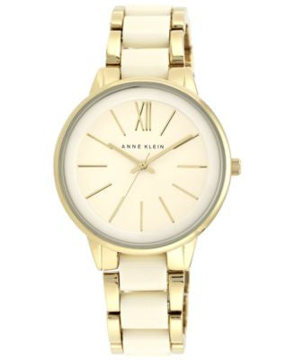 Anne Klein Women's Ivory-Color and Gold-Tone Bracelet Watch 37mm AK/1412IVGB