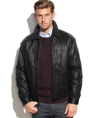 Boston Harbour Leather Wind-Resistant Bomber Jacket