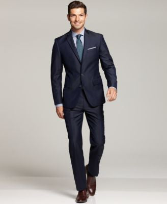 Ryan Seacrest Distinction New Blue Solid Slim-Fit Suit Separates