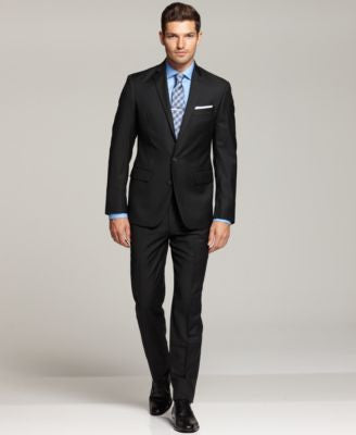 Ryan Seacrest Distinction Black Solid Slim-Fit Suit Separates
