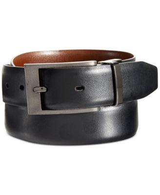 Perry Ellis Men's Leather Big & Tall Zeus Etched Buckle Belt