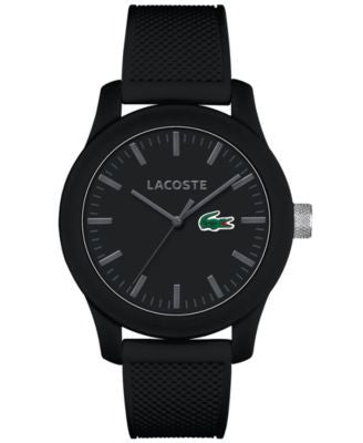 Lacoste Men's L.12.12 Black Silicone Strap Watch 43mm 2010766