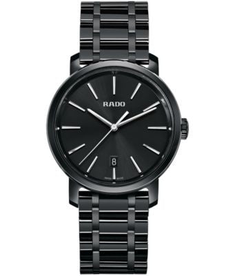 Rado Men's Swiss DiaMaster Black High-Tech Ceramic Bracelet Watch 40mm R14066182