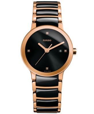 Rado Women's Swiss Centrix Diamond Accent Black High-Tech Ceramic and Rose Gold-Tone PVD Stainless S