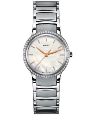 Rado Women's Swiss Centrix Diamond (1/5 ct. t.w.) Stainless Steel Bracelet Watch 28mm R30936913