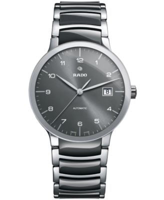 Rado Men's Swiss Automatic Centrix Gray High-Tech Ceramic and Stainless Steel Bracelet Watch 38mm R3