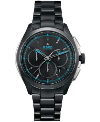 Rado Men's Automatic Chronograph HyperChrome Court Black High-Tech Ceramic Bracelet Watch 45mm R3252