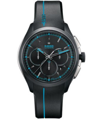 Rado Men's Swiss Automatic Chronograph HyperChrome Sport Black Rubber Strap Watch 45mm R32525159