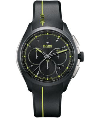 Rado Men's Swiss Automatic Chronograph HyperChrome Sport Black Rubber Strap Watch 45mm R32525179