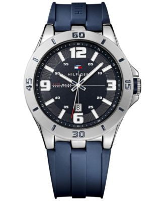 Tommy Hilfiger Men's Blue Silicone Strap Watch 46mm 1791062
