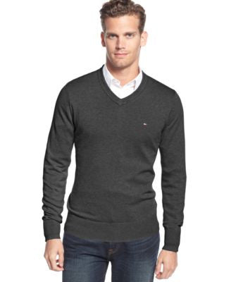 Tommy Hilfiger Big & Tall Men's Signature Solid V-Neck Sweater