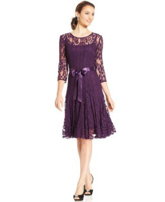 MSK Illusion Floral Lace Dress