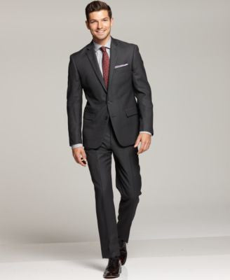 Ryan Seacrest Distinction Grey Neat Slim-Fit Suit Separates