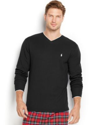 Polo Ralph Lauren Men's Tipped Thermal V-Neck Shirt