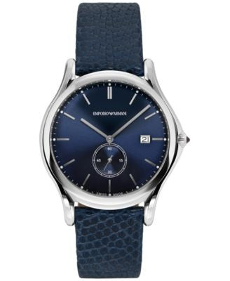 Emporio Armani Men's Swiss Blue Leather Strap Watch 40mm ARS1010
