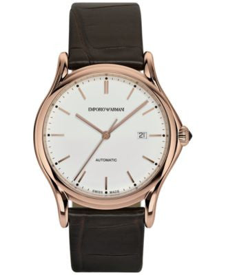 Emporio Armani Men's Swiss Automatic Dark Brown Leather Strap Watch 42mm ARS3012