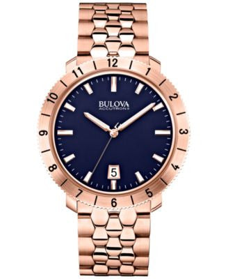 Bulova Accutron II Men's Moonview Rose Gold-Tone Stainless Steel Bracelet Watch 42mm 97B130