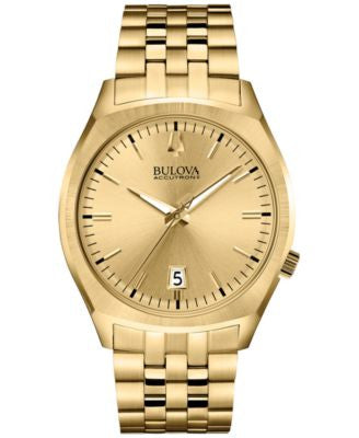 Bulova Accutron II Men's Surveyor Gold-Tone Stainless Steel Bracelet Watch 41mm 97B134