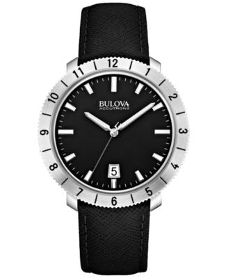 Bulova Accutron II Men's Moonview Black Leather Strap Watch 42mm 96B205