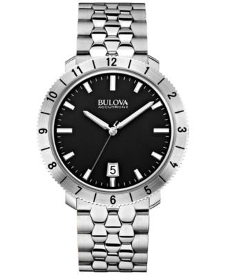 Bulova Accutron II Men's Moonview Stainless Steel Bracelet Watch 42mm 96B207