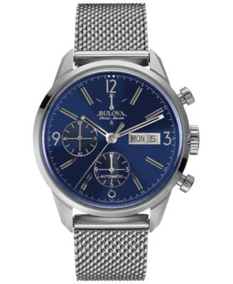 Bulova AccuSwiss Men's Automatic Chronograph Murren Stainless Steel Mesh Bracelet Watch 41mm 63C117