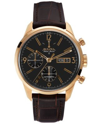 Bulova AccuSwiss Men's Automatic Chronograph Murren Brown Leather Strap Watch 41mm 64C106