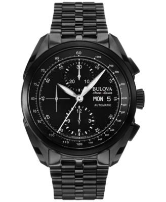 Bulova AccuSwiss Men's Automatic Chronograph Tellaro Black PVD Stainless Steel Bracelet Watch 43mm 6