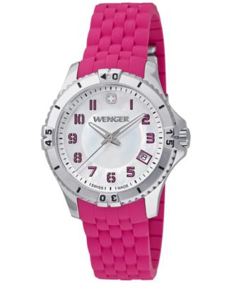 Wenger Women's Swiss Squadron Lady Pink Silicone Rubber Strap Watch 36mm 0121.101