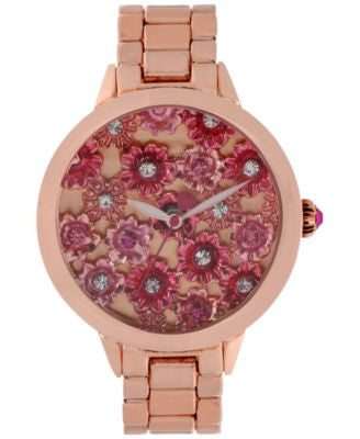 Betsey Johnson Women's Rose Gold-Tone Bracelet Watch 42mm BJ00443-02