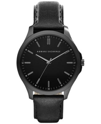 A|X Armani Exchange Men's Black Leather Strap Watch 45mm AX2148