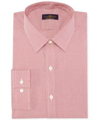 Club Room Estate Wrinkle-Resistant Cranberry Houndstooth Dress Shirt